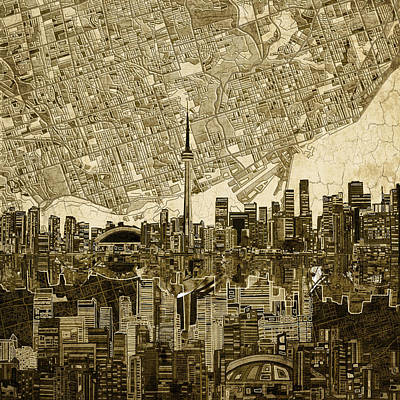 Toronto Skyline Abstract Vintage Poster by Bekim Art