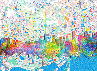 Toronto Skyline Watercolor 5 Poster