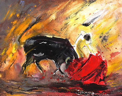 Bullfighting In Shadow And Light Poster by Miki De Goodaboom
