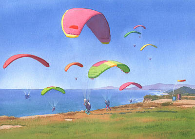 Torrey Pines Gliderport Poster by Mary Helmreich