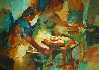 Poster featuring the painting Tortillas Caliente by Roger Parent