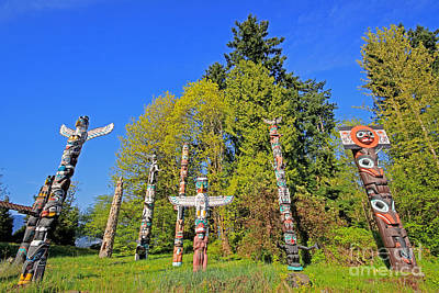 Totem Poles In Stanley Park Poster by Charline Xia