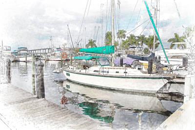 Sailboat-docked-digital Poster by J Darrell Hutto