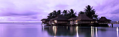Tourist Resort At Dusk, Tahiti, French Poster
