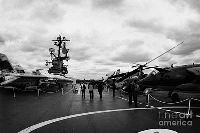 tourists and Aircraft on the flight deck of the USS Intrepid new york city Poster by Joe Fox