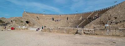 Tourists At Amphitheatre, Caesarea, Tel Poster