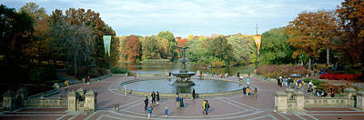 Tourists In A Park, Bethesda Fountain Poster by Panoramic Images