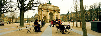 Tourists Near A Triumphal Arch, Arc De Poster by Panoramic Images