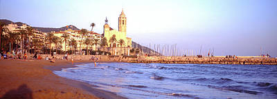 Tourists On Beach, Sitges, Barcelona Poster by Panoramic Images