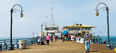 Tourists On Santa Monica Pier, Santa Poster by Panoramic Images