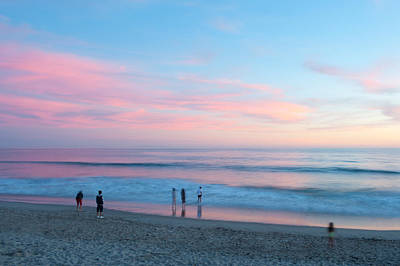 Tourists On The Beach At Sunset, Santa Poster by Panoramic Images