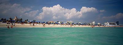 Tourists On The Beach, Miami, Florida Poster