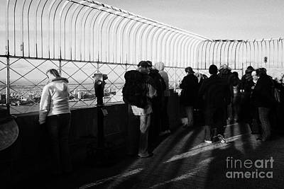 Tourists On The View From Observation Deck  Empire State Building New York City Usa Poster by Joe Fox