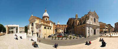 Tourists Sitting On Steps At Piazza Poster by Panoramic Images