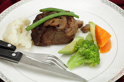 Tournedos Meal With Cutlery Poster by Paul Cowan
