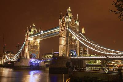 Tower Bridge At Night Poster by Ashley Cooper
