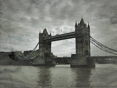 Tower Bridge In London Over The Thames Poster by John Colley