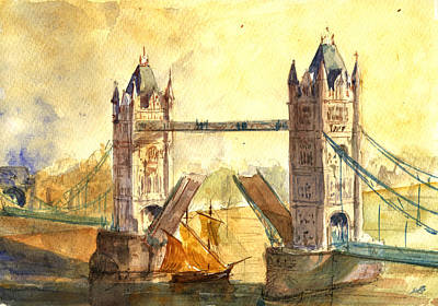 Tower Bridge London Poster by Juan  Bosco