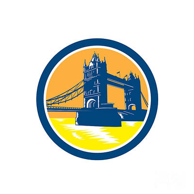 Tower Bridge London Woodcut Retro Poster