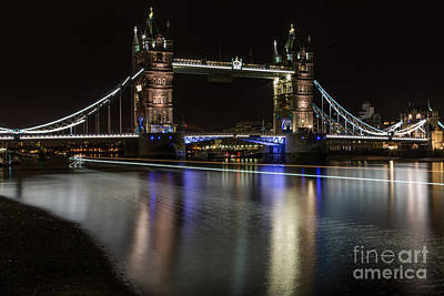 Tower Bridge With Boat Trails Poster
