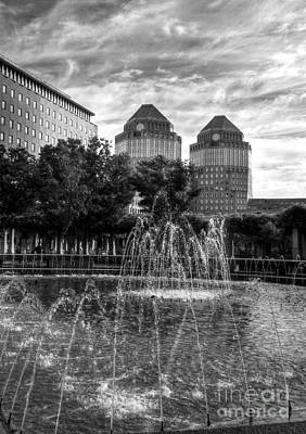 Tower Fountains Bw Poster
