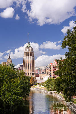 Tower Life Building San Antonio Skyline And Riverwalk - Texas Poster