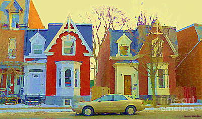 Town Houses In Winter Suburban Side Street South West Montreal City Scene Pointe St Charles Cspandau Poster by Carole Spandau