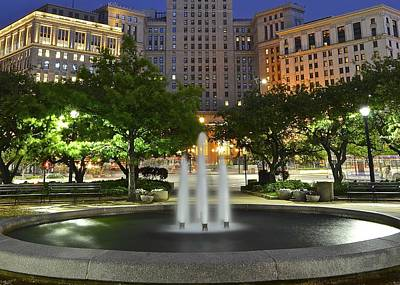 Town Square Fountain Poster by Frozen in Time Fine Art Photography