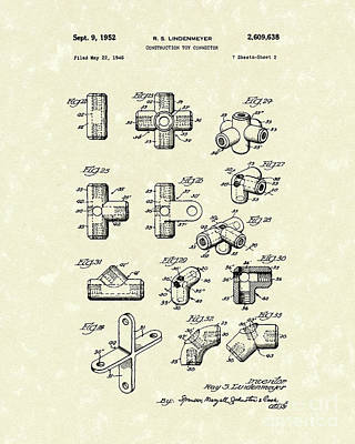 Toy Connector 1952 Patent Art Poster by Prior Art Design