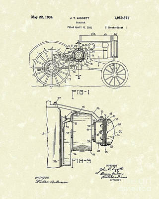 Tractor 1934 Patent Art Poster by Prior Art Design