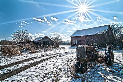 Tractor Farm Winter Blues Poster by Randall Branham