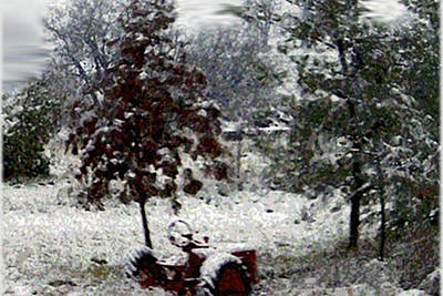 Tractor In The Snow Poster by Dennis Buckman