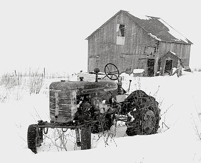Poster featuring the photograph Tractor In Winter by Jim Vance