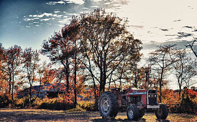 Tractor Out Of The Barn Poster by Kelly Reber