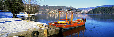Traditional Boat At The Lake Bled Poster by Panoramic Images