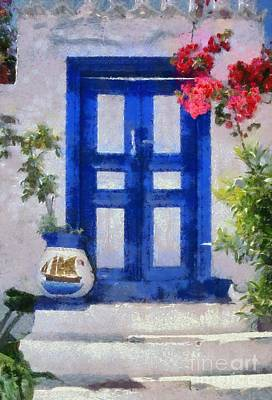 Traditional Door In Hydra Island Poster