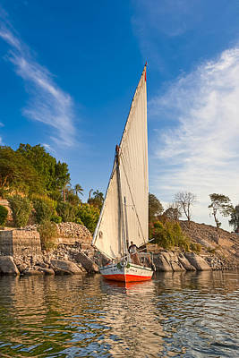 Traditional Egyptian Sailboat On The Nile Poster by Mark E Tisdale
