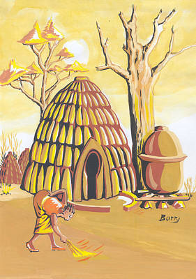 Poster featuring the painting Traditional House Massa Northern Cameroon by Emmanuel Baliyanga