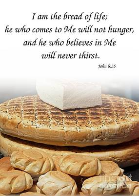 Traditional Old-fashioned Bread And Bible Verse Poster by Yali Shi