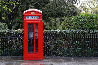 Traditional Red Telephone Box In London Poster