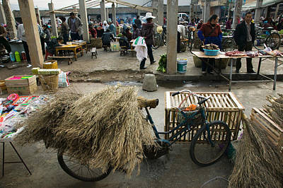 Traditional Town Market With Grass Poster
