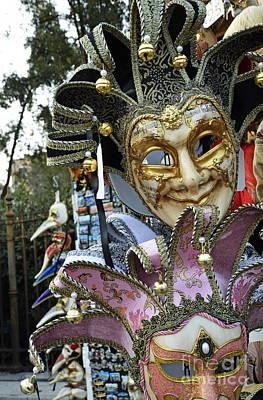Traditional Venetian Masks Displayed At Shop Poster by Sami Sarkis