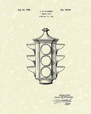 Traffic Light 1924 Patent Art Poster