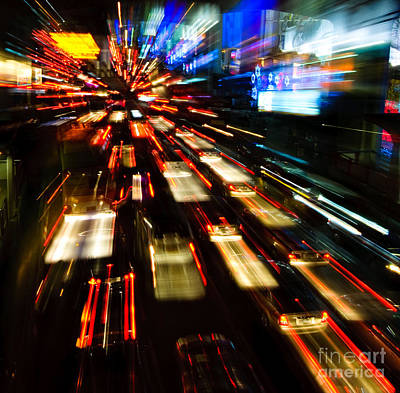Traffic Lights In Motion Blur Poster by Konstantin Kalishko
