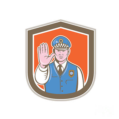 Traffic Policeman Hand Stop Sign Shield Cartoon Poster