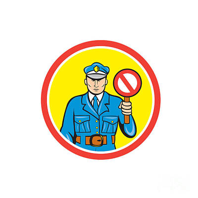 Traffic Policeman Stop Hand Signal Cartoon Poster