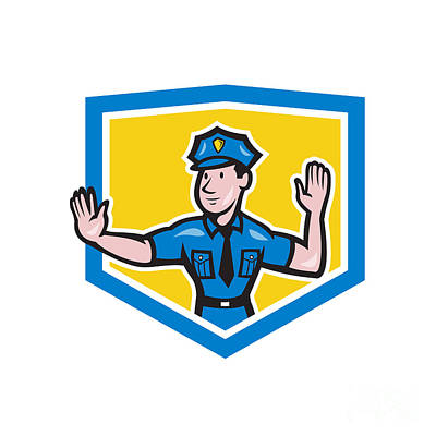 Traffic Policeman Stop Hand Signal Shield Cartoon Poster