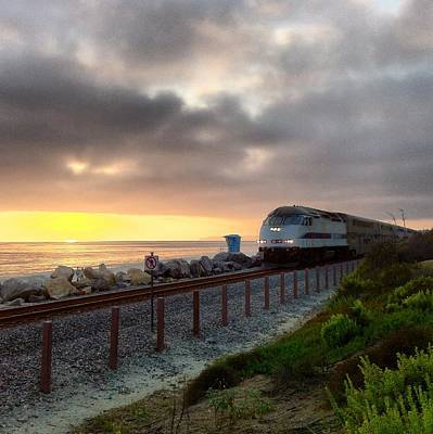 Train And Sunset In San Clemente Poster