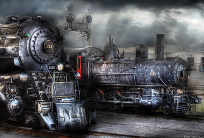 Train - Engine - 1218 - Waiting For Departure Poster by Mike Savad