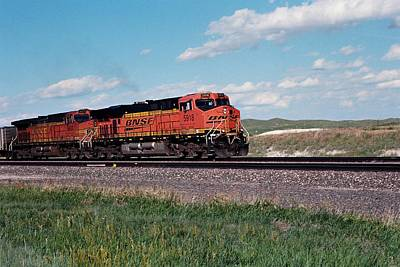 Train Engines On The Prairie Poster